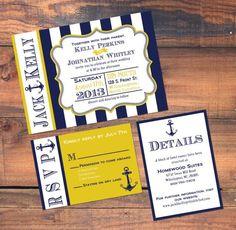 nautical yellow navy | Navy and yellow nautical wedding invitation set