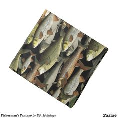 "Fisherman's Fantasy Bandana - Designed for the fishing enthusiast, a school of many fish swims along. Shown here with a black background, you may change the background color to the color of your choice by selecting the ""customize it"" button and choosing another background color. Sold at DP_Holidays on Zazzle."