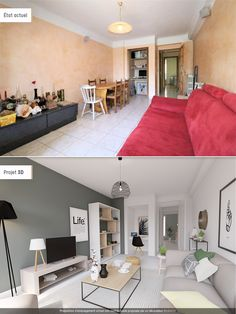Renovation of a living room Project before / after a living room style . - Renovation of a living room Before / after project of a contemporary style living ro - Apartment Interior, Apartment Design, Home Living Room, Interior Design Living Room, Living Room Designs, Living Room Decor, Small Living Rooms, Rectangular Living Rooms, Home Staging