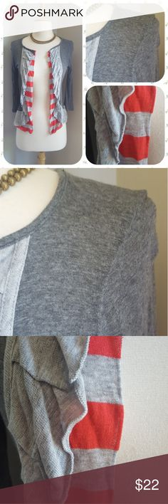 Anthropologie Catalyst Cardigan This thin cardigan has a sweet secret - hidden in heather and grey are majestic ruffles and red striped accents for a beautiful outfit topper. By Daytrip.  Size small. Excellent condition! Anthropologie Sweaters Cardigans