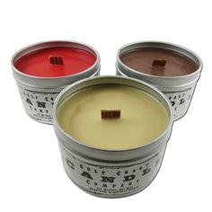 Scented Candles-Man Cave Collection-All Natural Soy Wax-SET of 3: Nag Champa, Dragons Blood, Asian Sandalwood~8 ounce Tin ~Wood Wick by Gulf Coast Candle Company * See this great product. (This is an affiliate link) #CandlesandHolders