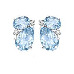 Kiki McDonough Blue Topaz and Diamond Pear and Oval Studs - Earrings Jewelry Accessories, Jewelry Design, Diamond Tops, Titanic Jewelry, Gemstone Jewelry, Unique Jewelry, Butterfly Jewelry, Beads And Wire, Stone Earrings