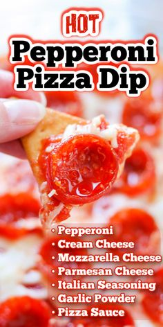 Pepperoni Pizza Dip made with three different kinds of cheese, pizza sauce, Italian seasonings, and pepperoni, is an easy appetizer. Like my Pepperoni Bread, this delicious hot hors d'oeuvre will have the crowd coming back for more! So be sure to have plenty of dippers on hand.