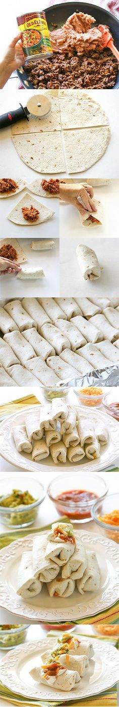 MINI BURRITOS - These Mini Burritos are filled with seasoned meat, beans, and cheese.