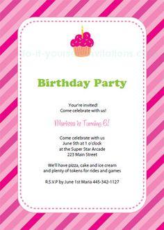 Free printable cupcake birthday invitations - pink stripes and cupcake