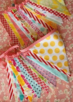 Set of TWO Extra Long Carnival Themed Fabric Bunting Banners,  Vintage Circus, Designer's Choice.  Also For Weddings and Parties.