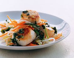 Scallops with Cilantro Sauce and Asian Slaw