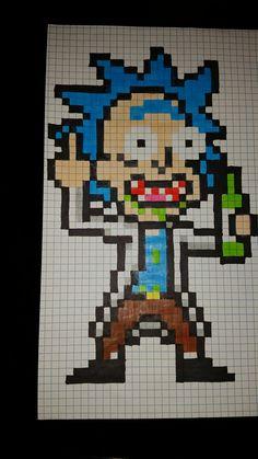 Rick pixel art - Minecraft World Graph Paper Drawings, Graph Paper Art, Easy Drawings, Pixel Art Naruto, Anime Pixel Art, Minecraft Drawings, Minecraft Pixel Art, Minecraft Buildings, Perler Bead Art