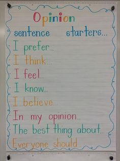 - Sentence starters from Live, Love, Laugh, and Learn! This site also offers a video and other ideas for teaching persuasive writing. Great sentence starters to get our kiddos' brains thinking about opinion writing! Writing Lessons, Writing Resources, Writing Skills, Writing Ideas, Writing Services, Writing Process, Writing Activities, Science Writing, Writing Checklist