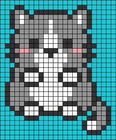 Melty Bead Patterns, Perler Patterns, Perler Bead Art, Perler Beads, Embroidery Patterns, Cross Stitch Patterns, Kawaii Cross Stitch, Pixel Art Grid, Pixel Drawing