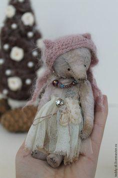 Мишка - бледно-розовый,медведь,мишка,тедди,шапка,кружево,винтаж,антик