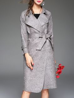 Shop Grey Lapel Tie-Waist Pockets Coat online. SheIn offers Grey Lapel Tie-Waist Pockets Coat & more to fit your fashionable needs.