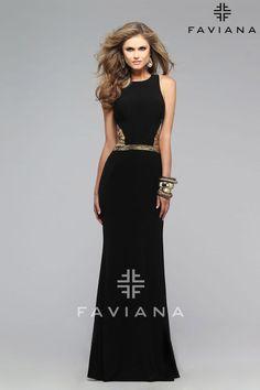 7734 Faviana. Faviana Prom 2016. Faviana designs. Faviana Prom. Long, black prom dress. evening wear. formal gown.