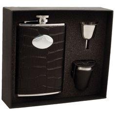 Visol Noir Crocodile Leather Deluxe II Flask Gift Set - 8 ounces