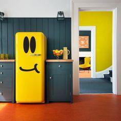 Etiqueta engomada del refrigerador | Carita, congelador, refrigerador, etiqueta engomada del vinilo de la etiqueta, feliz, encantador, decoración de la cocina, etiqueta engomada para nevera
