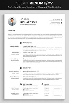 Professional Resume / CV Template with super modern and professional look. Elegant page designs are easy to use and customize, so you can quickly tailor-make your resume for any opportunity and help you to get your job. Student Resume Template, Modern Resume Template, Creative Resume Templates, Resume Design Template, Cv Template, Templates Free, Cover Letter For Resume, Cover Letter Template, Resume Words