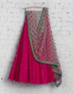 SMF LEH 177 16 Rani pink lehenga with pink threadworm dupatta Half Saree Lehenga, Lehnga Dress, Pink Lehenga, Indian Lehenga, Sarees, Bridal Lehenga, Saree Blouse, Anarkali, Indian Wedding Outfits