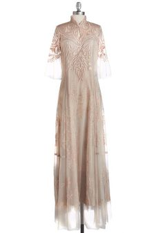 Airy in the Evening Dress. The sun might have set, but you cant help but enjoy the ethereal feel of this day as you make your way home in this blush-hued gown by Nataya! Great Gatsby Dresses, Vintage Inspired Wedding Dresses, Retro Vintage Dresses, Vintage Outfits, Pretty Dresses, Plus Size Dresses, Dresses For Sale, Mod Dress, Thing 1