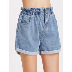 Blue Shirred Elastic Waist Rolled Hem Denim Shorts ($12) ❤ liked on Polyvore featuring shorts, blue, loose shorts, jean shorts, short jean shorts, ruched shorts and denim short shorts