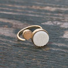 Diva Ring in gold/champagne/white by Glee Jewelry. Druzy Stone