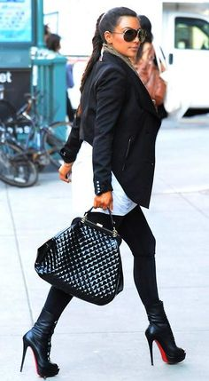 Black and white, outfit with great details; Kim Kardashian