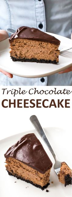 Soft and Creamy Triple Chocolate Cheesecake. Oreo Cookie crust layered with…