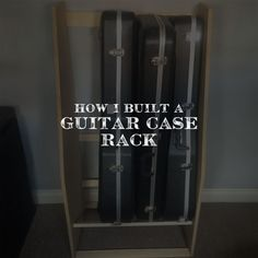 Build your own guitar case rack, fits any case size. Mine was built for 2 acoustics and 2 electrics with space underneath for an effects pedal. Perfect solution to any office/music room when you don't want your guitars out on show all the time. #guitarracks #guitars #guitarcasemanagement #guitarstorage #casestorage