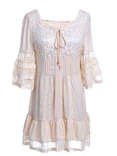 Anna-Kaci S/M Fit Beige Ruffle Hem Bell Sleeves Lace Overlay Panels Short Dress Anna-Kaci http://www.amazon.com/dp/B00UGGXEOW/ref=cm_sw_r_pi_dp_fom3vb0Z7GBYS