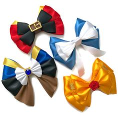 Beauty the Beast Disney Inspired Gaston Belle Beast Hair Bow ($7.99) ❤ liked on Polyvore featuring accessories, hair accessories, blue hair bow, yellow hair bow, bow hair accessories, hair bow and yellow hair accessories