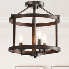 A darker option, the rust finish has warm brown undertones and faux-wood details are perfect for all industrial or vintage aesthetics. Semi Flush Lighting, Semi Flush Ceiling Lights, Hallway Lighting, Ceiling Light Fixtures, Flush Mount Ceiling, Rustic Flush Mount Lighting, Ceiling Lighting, Farmhouse Flush Mount Light, Open Ceiling