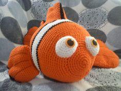 A huge amigurumi version of Pixar's Nemo.