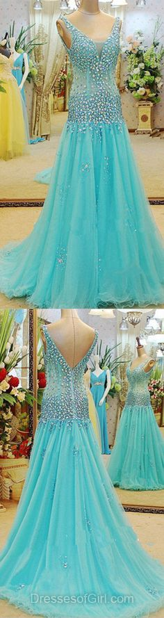 Open Back Prom Dresses, V Neck Prom Dress, Long Evening Gowns, Blue Party Dresses, Tulle Formal Dresses