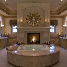 Love the huge fireplace in Master Bath