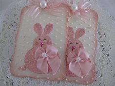 Glitter Bunny Tags-- cute tag idea, could use different bunnies die cuts or something though...