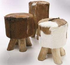 Cow & Goat Skin Stool from www.wohnzimmer.se