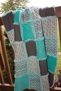 Baby Rag Quilt In Turquoise Gray and White. by CrossGcreations, $110.00