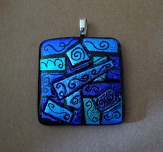 DICHROIC BLUES FUSED GLASS PENDANT - Delphi Stained Glass
