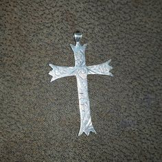 "Vintage ENGRAVED CHASED Sterling Silver CROSS Pendant ~ (2"" x 1-1/8"") by PastPossessionsOnly on Etsy"