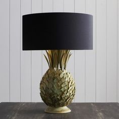 Pineapple lamp by Graham and Green. Reminds me of the pair of slender pineapple lamps I bought last summer at a yard sale. Pineapple Lamp, I Love Lamp, Bedside Table Lamps, Console Table, Lamp Bases, Lamp Design, Beautiful Interiors, Christmas Lights, Lamp Light