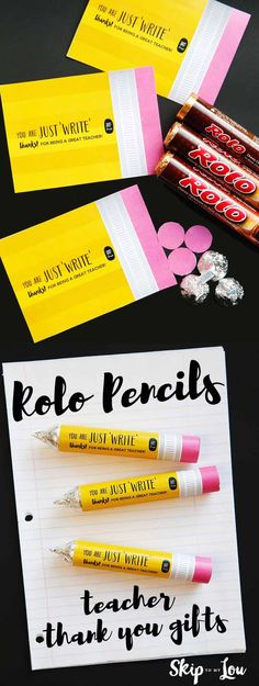 Rolo Pencil Teacher Thank You Gifts Rolo candy teacher appreciation gift idea! Learn how to make this easy candy pencil for your special teacher. Rolo Pencils, Thank You Teacher Gifts, Gift Ideas For Teachers, Homemade Teacher Gifts, Easy Teacher Gifts, Teacher Presents, Thank You For Teachers, Thank You Ideas, Teacher Candy Gifts