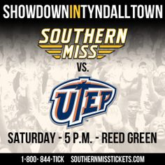 Showdown In Tyndall Town This Saturday Men`s Basketball vs. UTEP at 5 p.m. in Reed Green for the biggest basketball game of the year!