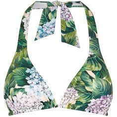 Dolce & Gabbana Garden Print Padded Triangle Bikini Top ($230) ❤ liked on Polyvore featuring swimwear, bikinis, bikini tops, swim tops, floral bikini, tankini tops, triangle bikinis and strappy swim top