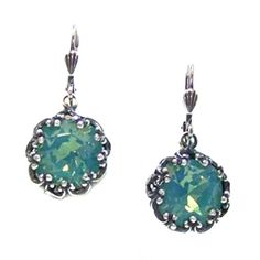 Catherine Popesco Silver Plated Lacy Pacific Blue Swarovski Crystal Dangle Earrings -- Continue to the product at the image link.