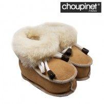 Choupinet - Chaussons bébé en Agneau Mérinos Couleur CAMEL