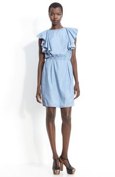 See by Chloé Ruffle Sleeve Chambray Dress