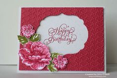 SU Stippled Blossoms - in Raspberry Ripple, Primrose Petals, Old Olive, Fancy Fan E F, Labels Collection framelits (Sept Hand Made Greeting Cards, Making Greeting Cards, Making Cards, Birthday Cards For Women, Happy Birthday Cards, Flower Stamp, Flower Cards, Embossed Cards, Stamping Up Cards