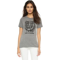 A tiger graphic and 'Like a Champ' lettering lend retro charm to this soft Rxmance tee. Banded crew neckline. Short sleeves. Fabric: Heathered jersey. 50% cott…