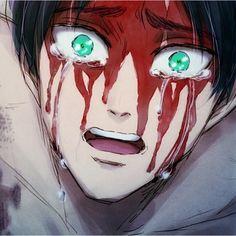 Oh my heart.   Eren, cave scene fanart, tears, blood   SnK