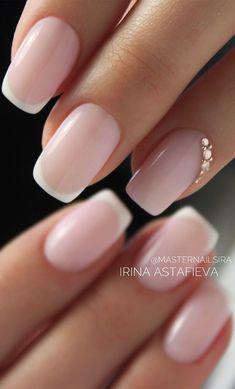 Simple Wedding Nails, Wedding Day Nails, Wedding Nails Design, Wedding Makeup, Wedding Nails For Bride Natural, Nail Designs For Weddings, Wedding Nail Colors, Wedding Manicure, Glitter Wedding
