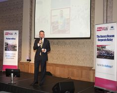 The Grand Hotel's General Manager Andrew Mosley tells the crowd about his experience running in the 2016 race Grand Hotel, Brighton, Crowd, Challenges, Product Launch, Racing, Running, Auto Racing